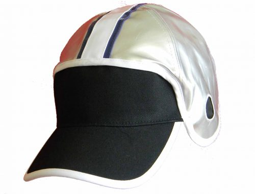 Silver Shiny Football Hat with Blue White Blue Stripe
