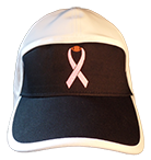 football hat breast cancer ribbon with brown football logo front